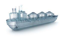 odosobniony modela oleju statku tankowa biel drut royalty ilustracja