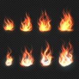 Odosobniony ogienia płomieni, władzy i energii symboli/lów wektoru set, ilustracja wektor