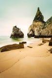 Odosobniony plażowy Ursa na Atlantyk wybrzeżu blisko przylądka Roca Fotografia Royalty Free