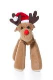Odosobniony pluszowy renifer lub łoś z Santa lub bożymi narodzeniami kapeluszowymi Obrazy Stock