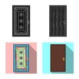 Odosobniony przedmiot drzwi i przodu znak Set drzwiowy i drewniany akcyjny symbol dla sieci ilustracja wektor