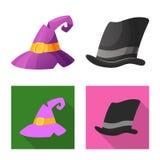 Odosobniony przedmiot headwear i nakrętki logo Set headwear i akcesorium akcyjna wektorowa ilustracja ilustracji