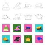 Odosobniony przedmiot headwear i nakrętki symbol Kolekcja headwear i akcesorium akcyjna wektorowa ilustracja ilustracji
