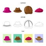 Odosobniony przedmiot headwear i nakrętki znak Set headwear i akcesorium akcyjna wektorowa ilustracja ilustracja wektor