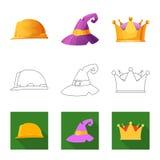 Odosobniony przedmiot kłobuku i nakrętki symbol Kolekcja kłobuku i akcesorium akcyjna wektorowa ilustracja royalty ilustracja