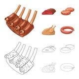 Odosobniony przedmiot mięsa i baleronu symbol Set mięso i kucharstwo akcyjna wektorowa ilustracja royalty ilustracja