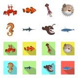 Odosobniony przedmiot morza i zwierzęcia znak Set morze i morski akcyjny symbol dla sieci ilustracja wektor