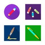 Odosobniony przedmiot ołówek i ostrzy ikonę Set ołówek i kolor wektorowa ikona dla zapasu ilustracji