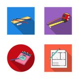 Odosobniony przedmiot ołówek i ostrzy ikonę Set ołówek i kolor wektorowa ikona dla zapasu ilustracja wektor