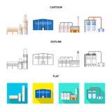 Odosobniony przedmiot produkcji i struktury symbol Set produkcji i technologii akcyjny symbol dla sieci ilustracja wektor