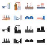 Odosobniony przedmiot produkcji i struktury znak Set produkcji i technologii wektorowa ikona dla zapasu ilustracja wektor