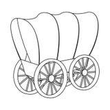 Odosobniony przedmiot stagecoach i furgonu symbol Set stagecoach i przejażdżki wektorowa ikona dla zapasu ilustracja wektor