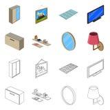 Odosobniony przedmiot sypialni i pokoju ikona Kolekcja sypialni i meble akcyjna wektorowa ilustracja royalty ilustracja