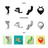 Odosobniony przedmiot szalika i chusty ikona Kolekcja szalika i akcesorium akcyjna wektorowa ilustracja ilustracji