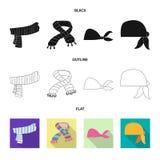 Odosobniony przedmiot szalika i chusty ikona Set szalika i akcesorium akcyjna wektorowa ilustracja ilustracji