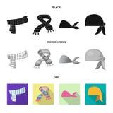 Odosobniony przedmiot szalika i chusty logo Kolekcja szalika i akcesorium akcyjna wektorowa ilustracja royalty ilustracja