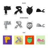 Odosobniony przedmiot szalika i chusty logo Set szalika i akcesorium akcyjna wektorowa ilustracja ilustracji