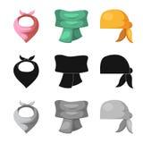 Odosobniony przedmiot szalika i chusty symbol Kolekcja szalika i akcesorium akcyjna wektorowa ilustracja ilustracji