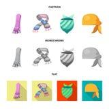 Odosobniony przedmiot szalika i chusty symbol Kolekcja szalika i akcesorium akcyjna wektorowa ilustracja ilustracja wektor