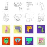 Odosobniony przedmiot szalika i chusty symbol Set szalika i akcesorium akcyjna wektorowa ilustracja ilustracji