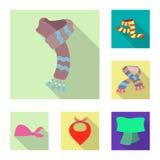 Odosobniony przedmiot szalika i chusty znak Kolekcja szalika i akcesorium akcyjna wektorowa ilustracja ilustracja wektor