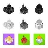 Odosobniony przedmiot ?wi?tynna i historyczna ikona Set ?wi?tynia i wiary akcyjna wektorowa ilustracja royalty ilustracja