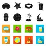 Odosobniony przedmiot wyposażenia i dopłynięcia znak Set wyposażenie i aktywności akcyjna wektorowa ilustracja ilustracji