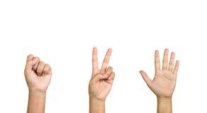 Odosobniony ręka symbol skała papieru nożyce lub wyceluje dwa pięć Obrazy Stock