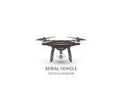 Odosobniony rc trutnia logo na bielu UAV technologii logotyp Bezpilotowa powietrzna pojazd ikona Pilot do TV przyrządu znak Fotografia Royalty Free
