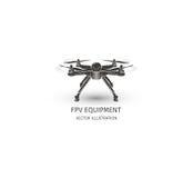 Odosobniony rc trutnia logo na bielu UAV technologii logotyp Bezpilotowa powietrzna pojazd ikona Pilot do TV przyrządu znak Obraz Royalty Free