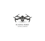 Odosobniony rc trutnia logo na bielu UAV technologii logotyp Bezpilotowa powietrzna pojazd ikona Pilot do TV przyrządu znak Fotografia Stock