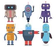 Odosobniony robota set Inkasowy przyszłościowy element ikony charakter, kreskówka roboty Płaski wektorowy ilustracja set Obrazy Stock