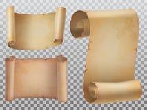 Odosobniony stary manuskrypt lub antyczne papierowe ślimacznic ikony ustawiający ilustracja wektor
