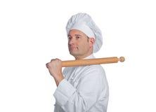 Piękny szef kuchni odizolowywający na białym tle Obrazy Royalty Free