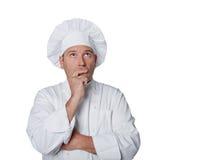 Piękny szef kuchni odizolowywający na białym tle Fotografia Royalty Free