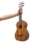 Odosobniony ukulele z ręką na białym tle 1 Fotografia Stock