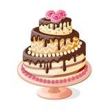 Odosobniony urodzinowego torta poziom z różami royalty ilustracja