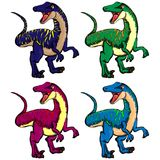 Odosobniony wektorowy ilustracyjny ustawiający kreskówki dinosaury ilustracja wektor