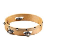 Odosobniony wizerunek drewniany tambourine z dzwonem na białym tle Zdjęcia Royalty Free