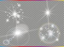 Odosobniony złoty obiektywu raca Jarzeniowy przejrzysty wektorowy lekkiego skutka set, wybuch, błyskotliwość, iskra, słońce błysk Obraz Stock