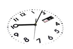 odosobniony Zegarek twarz przechyla Tarcza zegarki Ręki na zegarze Kalendarz, Niedziela, pierwszy dzień Ostrość w cen fotografia royalty free