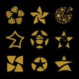 Odosobnionych złotych gwiazd loga wektorowy set Astronautyczni elementów logotypy inkasowi Fotografia Stock