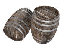 Odpłaca się dwa starej ciemnej drewno baryłki Biały tło ciemniutki Ścinek ścieżka royalty ilustracja