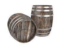Odpłaca się dwa starej ciemnej drewno baryłki Biały tło ciemniutki Ścinek ścieżka ilustracji