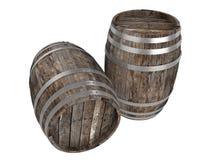 Odpłaca się dwa starej ciemnej drewno baryłki Biały tło ciemniutki Ścinek ścieżka ilustracja wektor