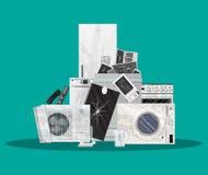 Odpady elektryczny i sprzętu elektronicznego stos Obraz Royalty Free