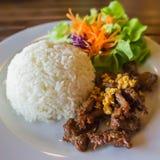 Odparowani ryż z smażącą wieprzowiną Obrazy Royalty Free