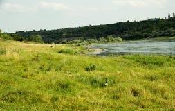 Odpoczynek na lato naturze Piękny lato natury krajobraz Jaskrawy jasny niebieskie niebo z bielem chmurnieje w lato naturze Obraz Royalty Free