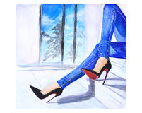Odpoczynkowa zakupy dziewczyna ilustracja wektor