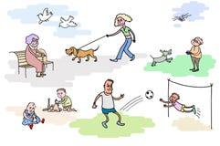 Odpoczynkowi ludzie Odpoczynek plenerowy Chodzący ith pies dzieciaków bawić się Fotografia Royalty Free